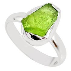 925 silver 5.43cts natural green peridot rough solitaire ring size 7.5 r64065