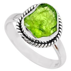 925 silver 6.39cts natural green peridot rough solitaire ring size 8.5 r64090