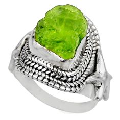 925 silver 6.20cts natural green peridot rough solitaire ring size 6 r53393