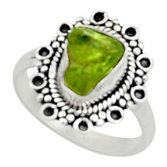 925 silver 3.93cts natural green peridot rough solitaire ring size 7 r52384