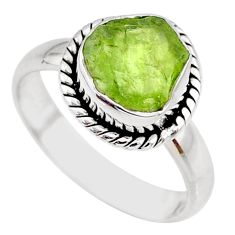 925 silver 5.43cts natural green peridot rough solitaire ring size 7 r64080