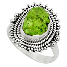 925 silver 5.07cts natural green peridot rough solitaire ring size 8 r52368