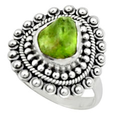 925 silver 4.55cts natural green peridot rough solitaire ring size 8 r52380