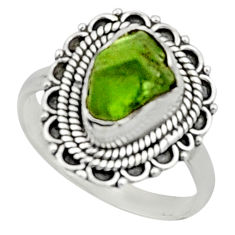 925 silver 4.34cts natural green peridot rough solitaire ring size 9 r52400