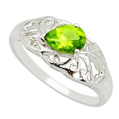 925 silver 1.49cts natural green peridot solitaire ring jewelry size 7.5 r25668