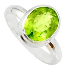 925 silver 4.06cts natural green peridot solitaire ring jewelry size 6.5 r34893