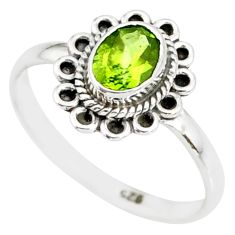 925 silver 1.48cts natural green peridot solitaire ring jewelry size 8 r85539
