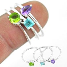 925 silver 2.98cts natural green peridot topaz amethyst 3 rings size 8 t51029