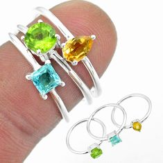 925 silver 2.97cts natural green peridot topaz citrine 3 rings size 6 t51046