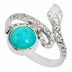 925 silver 3.26cts natural green peruvian amazonite snake ring size 7.5 r78663