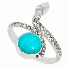 925 silver 3.13cts natural green peruvian amazonite snake ring size 8.5 r78665