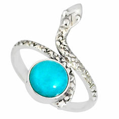 925 silver 3.26cts natural green peruvian amazonite snake ring size 8.5 r78688