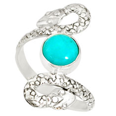 925 silver 3.19cts natural green peruvian amazonite snake ring size 10 r78727