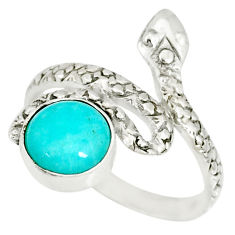 925 silver 3.46cts natural green peruvian amazonite snake ring size 7 r78644