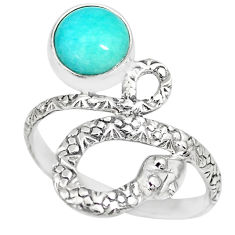 925 silver 3.01cts natural green peruvian amazonite snake ring size 9 r82564