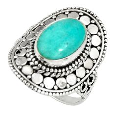 925 silver 4.38cts natural green peruvian amazonite solitaire ring size 7 r19525