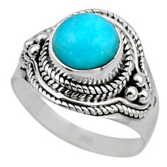 925 silver 2.72cts natural green peruvian amazonite solitaire ring size 7 r53494