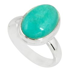 925 silver 6.02cts natural green peruvian amazonite solitaire ring size 8 r19309