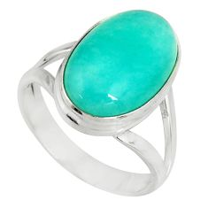 925 silver 7.22cts natural green peruvian amazonite solitaire ring size 8 r19313
