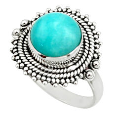 925 silver 5.35cts natural green peruvian amazonite solitaire ring size 8 r52613
