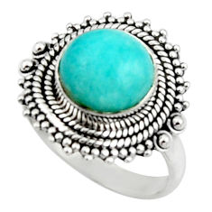 925 silver 5.74cts natural green peruvian amazonite solitaire ring size 8 r52618