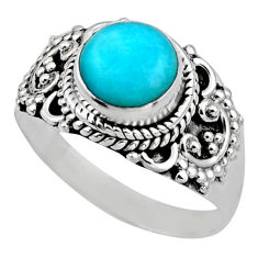 925 silver 2.72cts natural green peruvian amazonite solitaire ring size 8 r53484