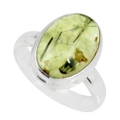 925 silver 6.02cts natural green prehnite oval solitaire ring size 7.5 r19419