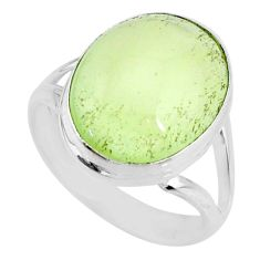 925 silver 12.36cts natural green prehnite oval solitaire ring size 8.5 r72763