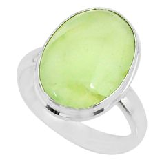 925 silver 11.21cts natural green prehnite oval solitaire ring size 8.5 r72786