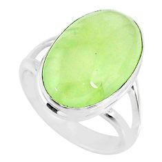 925 silver 11.23cts natural green prehnite oval solitaire ring size 7.5 r72790