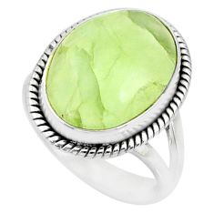 925 silver 10.60cts natural green prehnite oval solitaire ring size 7.5 r72803