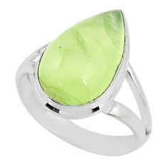 925 silver 9.67cts natural green prehnite pear solitaire ring size 8.5 r72777