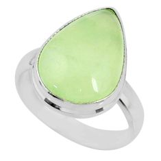 925 silver 10.78cts natural green prehnite pear solitaire ring size 7.5 r72813