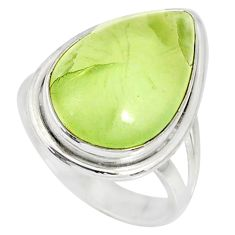 925 silver 12.07cts natural green prehnite pear solitaire ring size 7.5 r76783