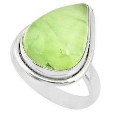925 silver 13.09cts natural green prehnite pear solitaire ring size 8 r72794