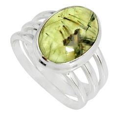 925 silver 7.02cts natural green prehnite solitaire ring jewelry size 7.5 r19409