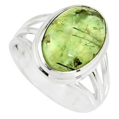 925 silver 6.31cts natural green prehnite solitaire ring jewelry size 7 r19415