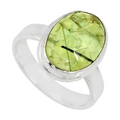 925 silver 6.31cts natural green prehnite solitaire ring jewelry size 8 r19404