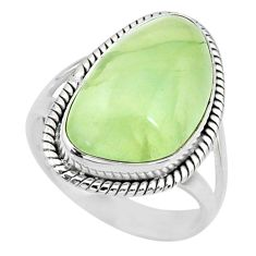 925 silver 12.31cts natural green prehnite solitaire ring jewelry size 8 r72780
