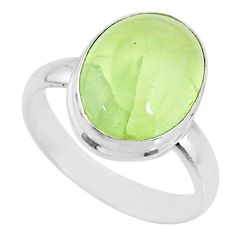 925 silver 6.54cts natural green prehnite solitaire ring jewelry size 8 r72809