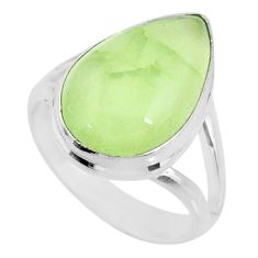 925 silver 10.70cts natural green prehnite solitaire ring jewelry size 8 r72816