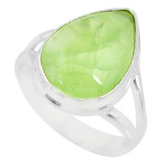 925 silver 9.99cts natural green prehnite solitaire ring jewelry size 8 r72818