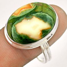 925 silver 15.29cts natural green rainforest rhyolite jasper ring size 11 t54384