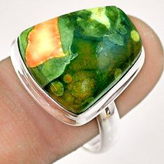 925 silver 14.40cts natural green rainforest rhyolite jasper ring size 9 t54390