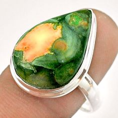 925 silver 14.40cts natural green rainforest rhyolite jasper ring size 9 t54394