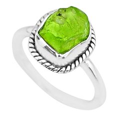 925 silver 4.64cts natural green rough peridot raw solitaire ring size 6 r75150