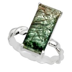 925 silver 5.57cts natural green rutile solitaire ring jewelry size 6 r49764