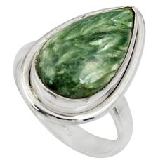 925 silver 10.41cts natural green seraphinite pear solitaire ring size 7 r28290