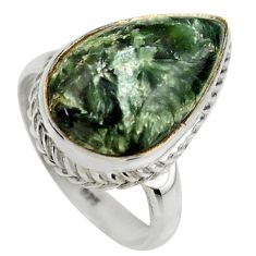 925 silver 8.42cts natural green seraphinite pear solitaire ring size 7 r28645