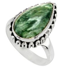925 silver 7.73cts natural green seraphinite solitaire ring size 7 r28284